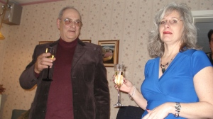 My dad, Hector Jourdain, and me during a toast at a mine celebration of my parents' 50th Wedding Anniversary.