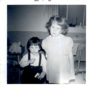 Kathy (2 years old) and Deb (5 years old) visiting in 1964 at Nanny and Grampy Hanson's house in Digby