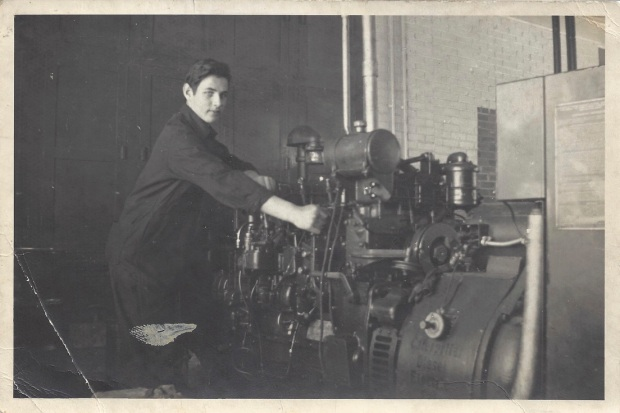 Dad with an engine